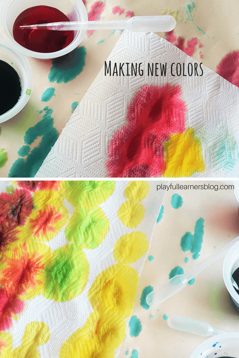mixing colors on paper towel