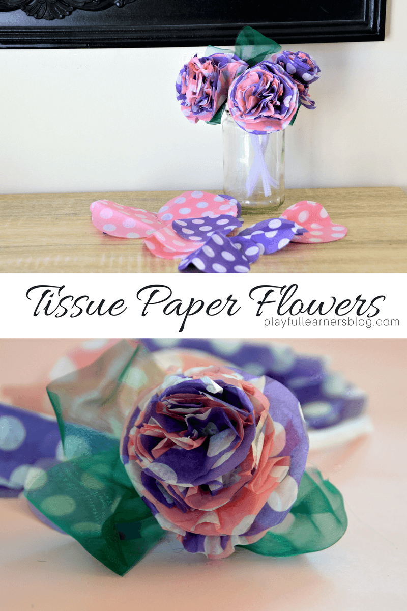 Tissue paper Flowers craft for kids