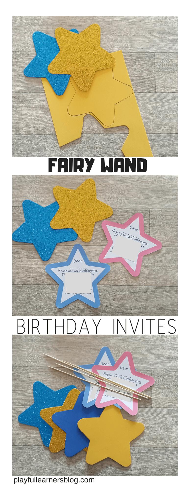 fairy wand birthday invites long pin