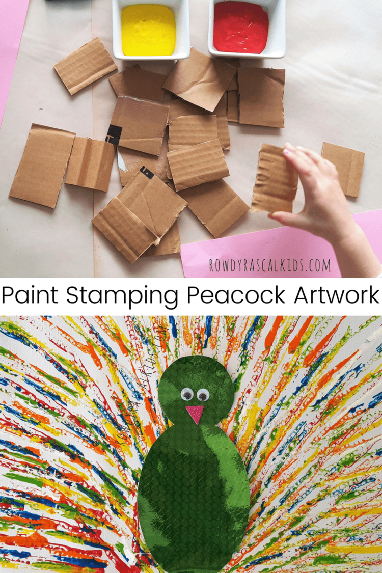 Peacock Kid Art This Fun Project Started Out As A Simple Paint Stamping One Using Cut Up Pieces Of Cardboard Box Dipping The Edge Them In And