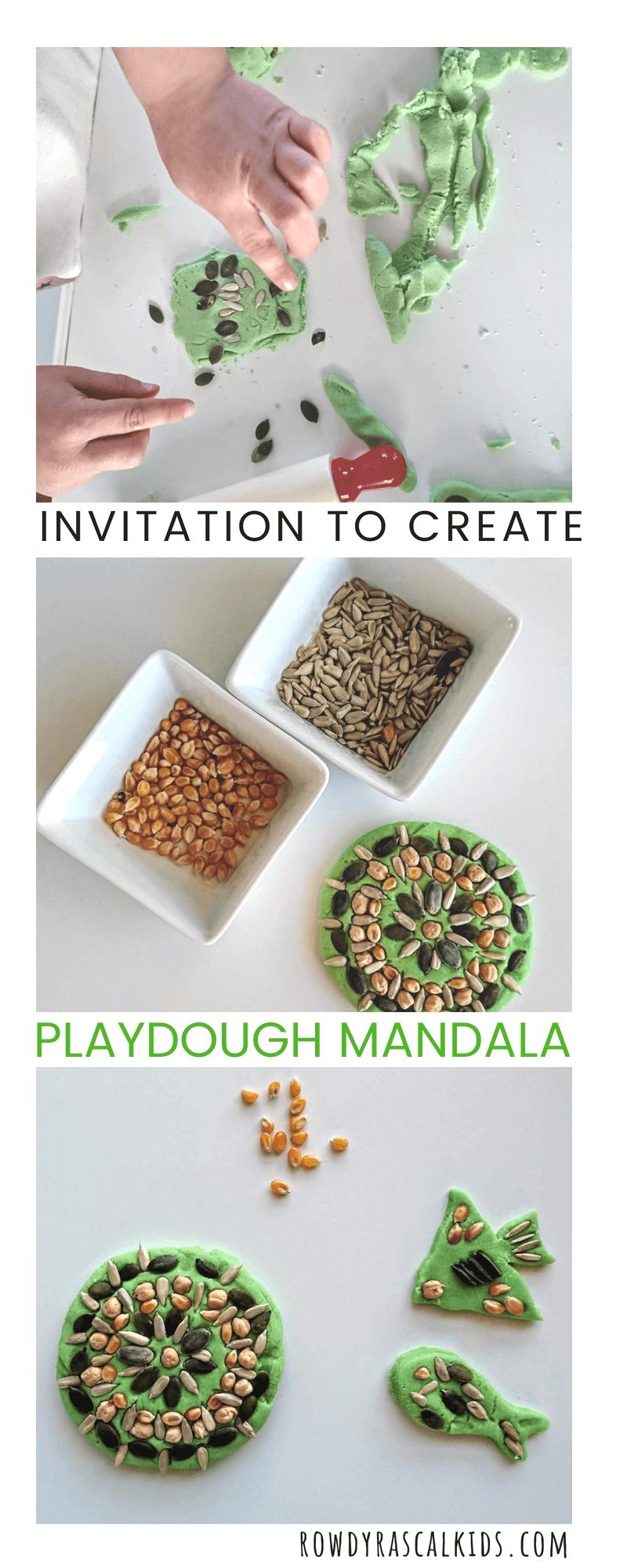 invitation to create playdough mandala