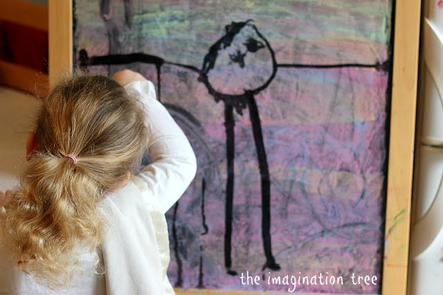 Painting with Water on coloured chalk board