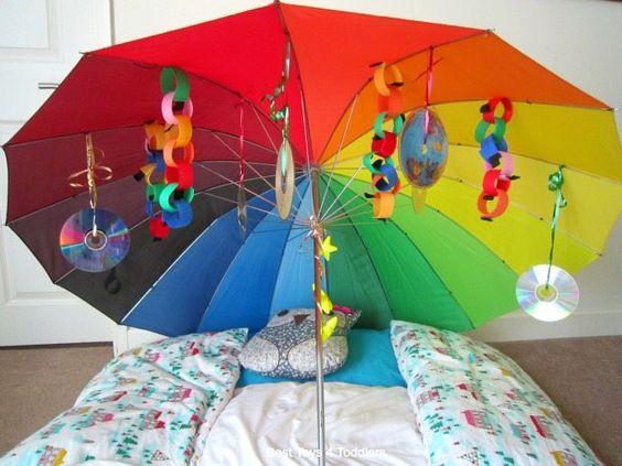 Under the umbrella sensory play >>>  Pinterest