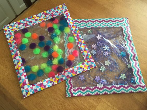 Make some squishy bags for tummy tummy time sensory play. You can find out how from  Life as Mama Bear