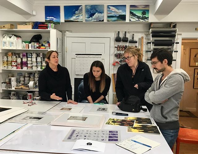 Studio visit with artist @goldmansusan at Lily Press. Susan Goldman has been the master printer several times over for Navigation Press.