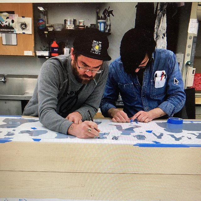 Preparing a Navigation Press presentation for Saturday at the Cosmos Club and found this photo. Fun times with @bridgethevoid !  #TheLongWalk #screenprint #navigationpress #artistbooks #joey