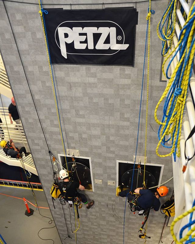 The Man-Hatch Rescue challenge!  A timed race to ascend, transfer ropes, and save your victim from the hatch and get him/her to the ground. Testing our skills with the best in the game!  #petzlropetrip  #petzl #ropetech  #ropeaccess  #rope  #access #rescueskills  #ropeaccesstechnician