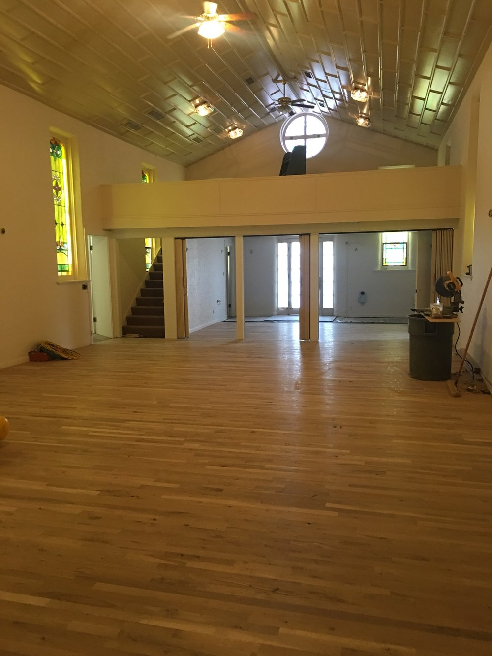 Alli Event Center, Brighton Co Sanctuary hardwood floor installation