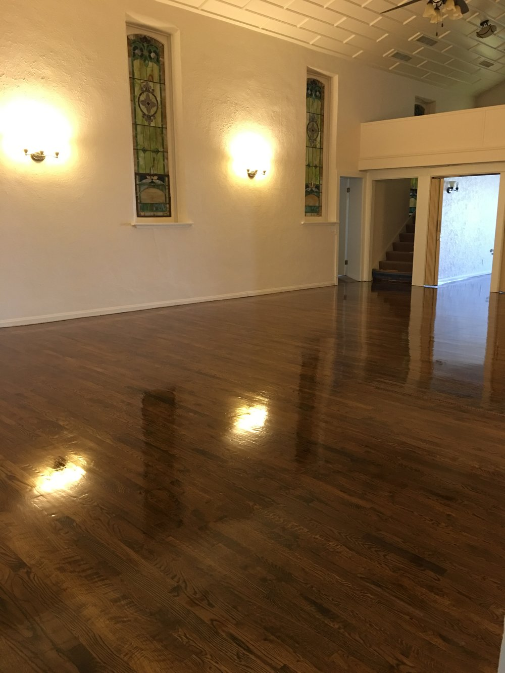 Alli Event Center, Brighton Co Sanctuary hardwood floor finish
