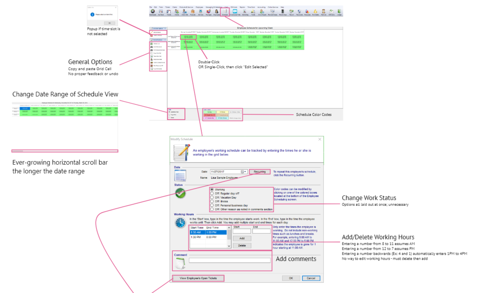 Annotating the appointment user flow for Windows Desktop Version