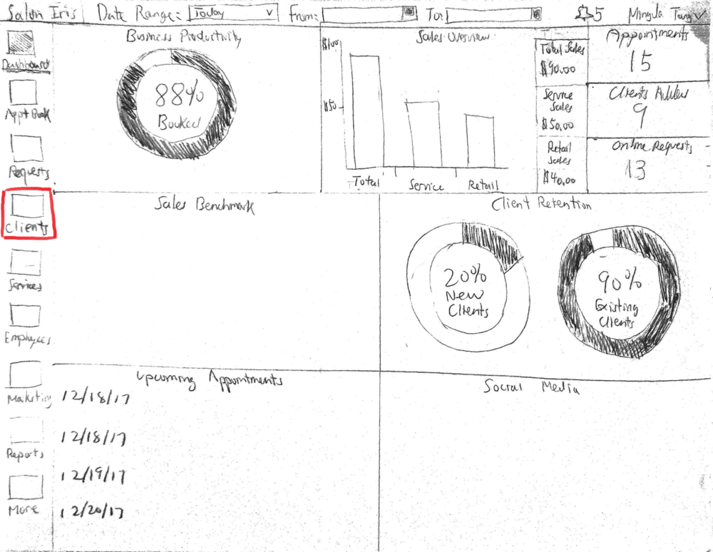 Alternate paper prototype for booking an appointment for John Doe -  1) Dashboard page