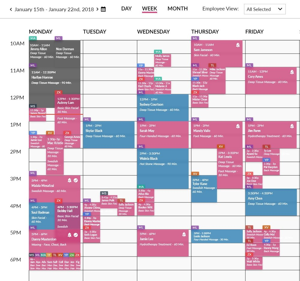 Week view  of appointments in same timeslot for multiple employees