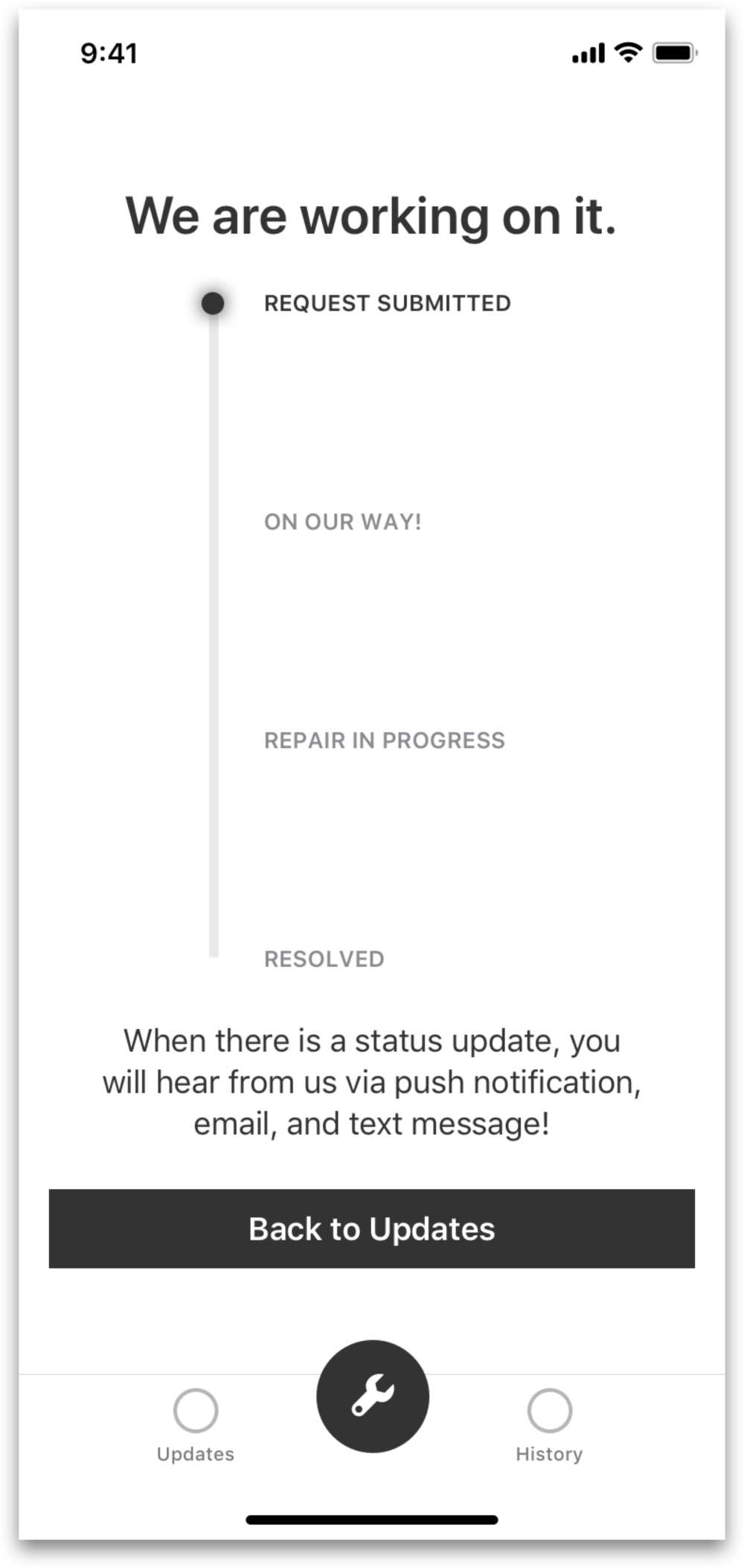 I chose this alternative design because as I thought that showing more visuals of the request progress (and less wordy) would be less mentally taxing on the user. - Both designs would use the same confirmation screen.