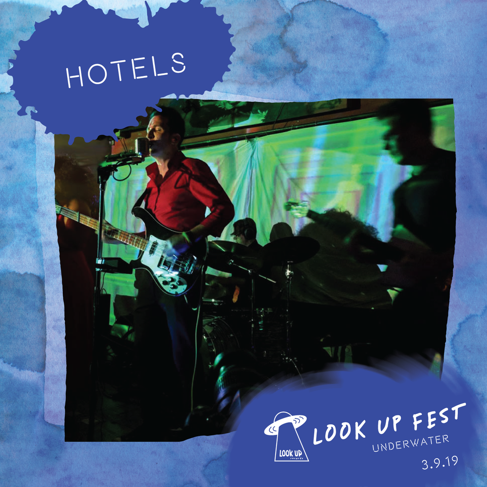 "HOTELS - Hotels lives in pop's dark corners, with post-punk roots giving way to flower petals of psych, jazz noir, electro, and surf. On 2016's ""Night Showers"", vibraphone, trumpet, violin, and cello joined the band's traditional driving rhythms and dreamscape guitars, adding to an already unique brand of movie soundtrack-esque pop–picture the lush acoustic arrangements of Stereolab or Sufjan Stevens filtered through the darkness of David Lynch's ""Twin Peaks"". The band's currently-in-production effort, ""Great Soups"", will be a return to synth-drenched form, but with a twist: powerhouse vocalist Adra Boo has joined the group, ushering in a new era–and new level–of vocal interplay with bassist/lead singer Blake Madden, as well as the birth of a band that breathes fire live."
