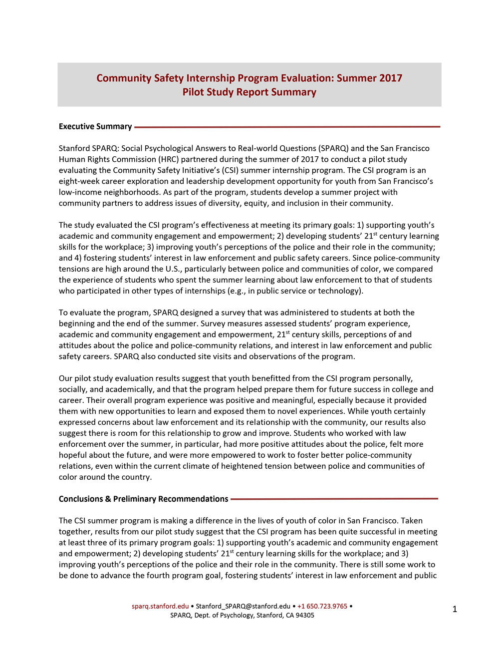 CSI Internship Program Evaluation - Summer 2017 Pilot Study Report Summary