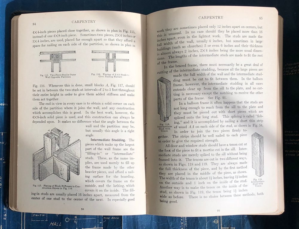 A page from  Carpentry and Contracting Volume 1,  a book from Brian's Grandfather's Library