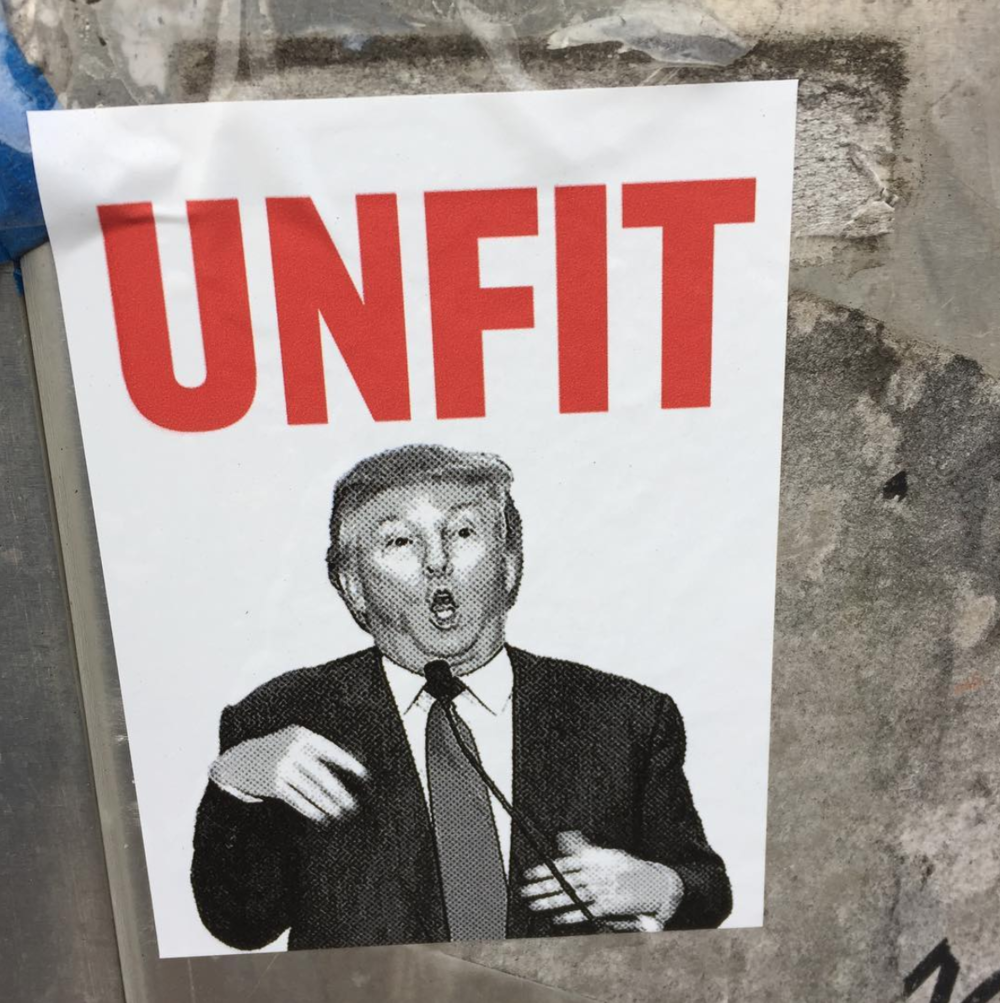 "Picture of Trump saying ""Unfit"""