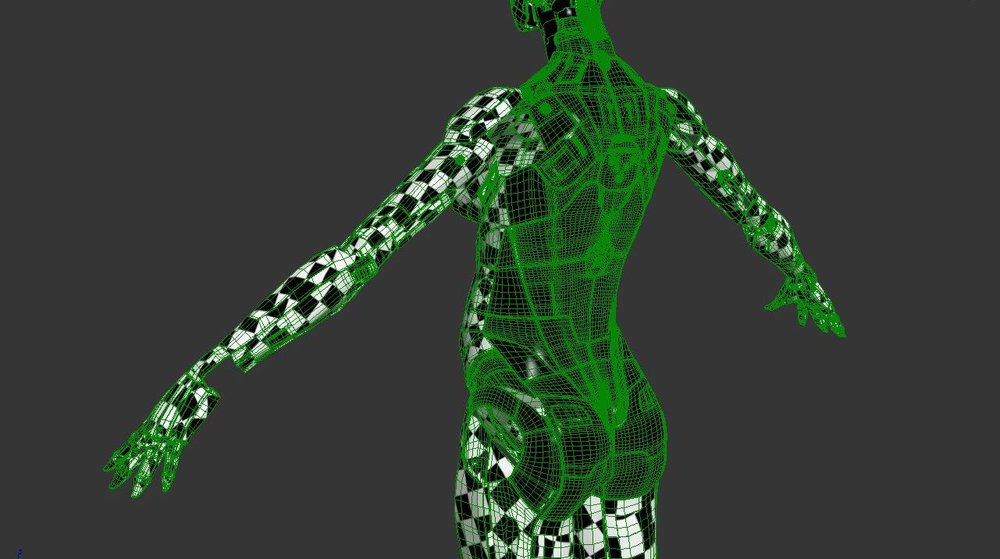 Checkerboard textures to view the UVs.