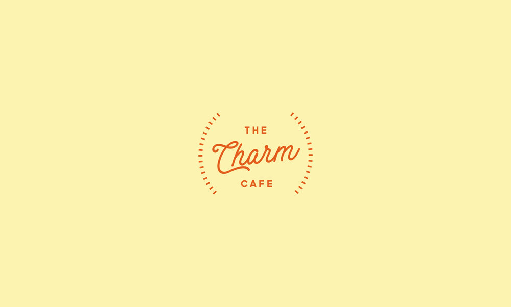 - The Charm Cafe concept logo