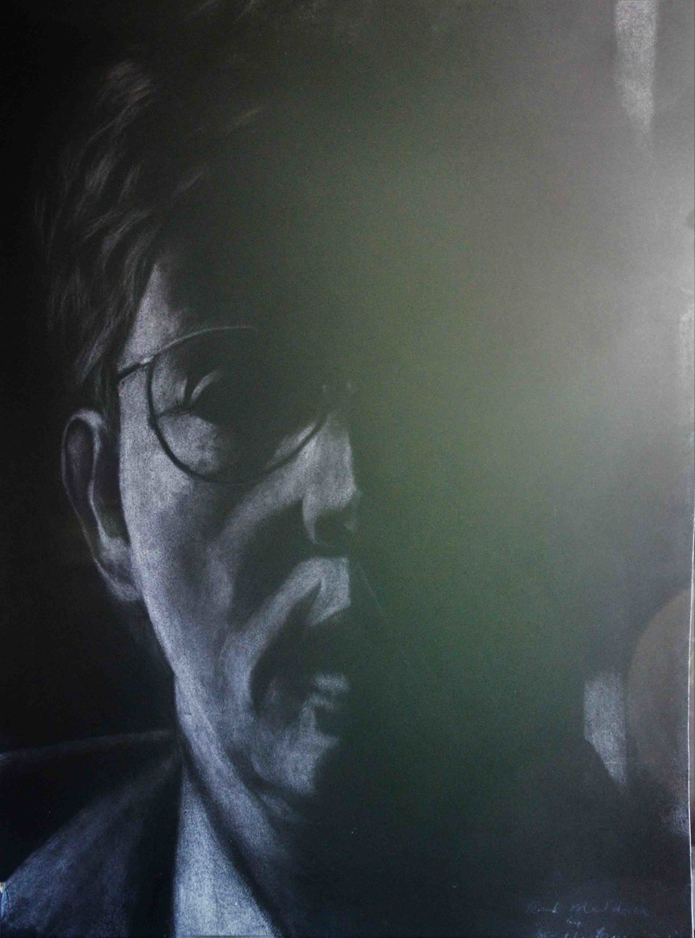 Paul Muldoon poet charcoal on board