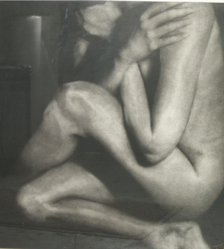 Seated nude, charcoal on board