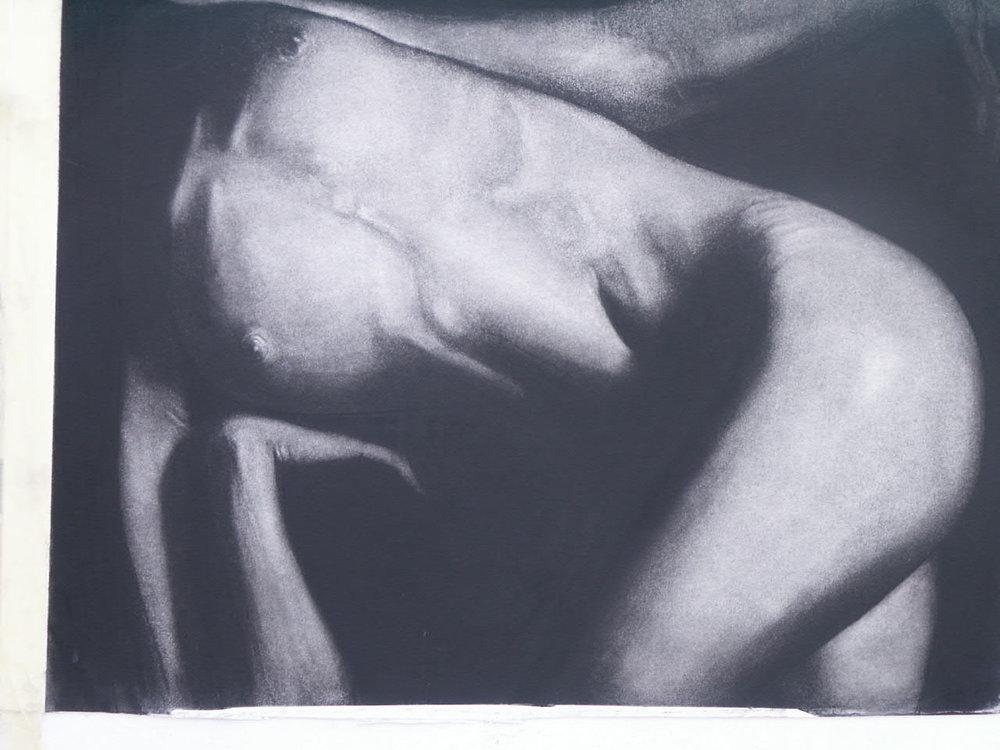 lying nude , Charcoal on board