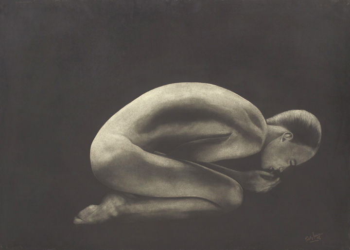 Crouching nude  charcoal on board  44 x 32 ins