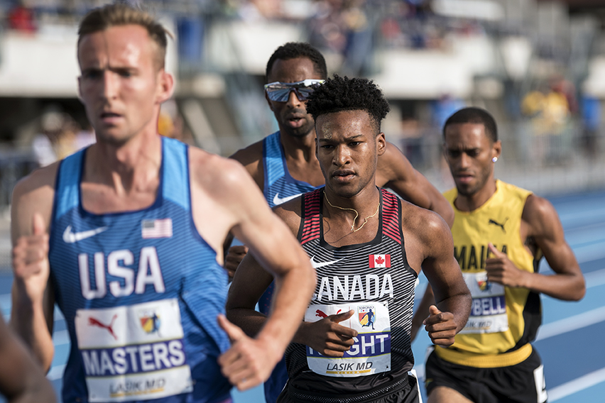 Canadian runner Justyn Knight competes in the 5000m event at the NACAC Track & Field Championships in Toronto.