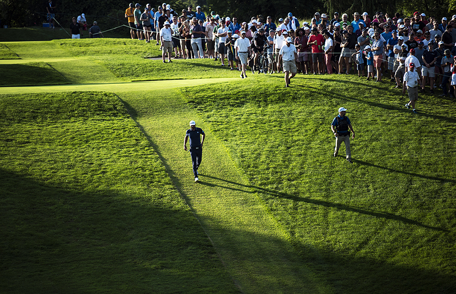 Dustin Johnson walks from the sixteenth tee during the final round of the 2018 RBC Canadian Open.