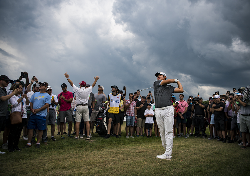 Byeong Hun An of South Korea during the final round of the RBC Canadian Open. Due to the oncoming storm, a stoppage in play was called shortly thereafter.