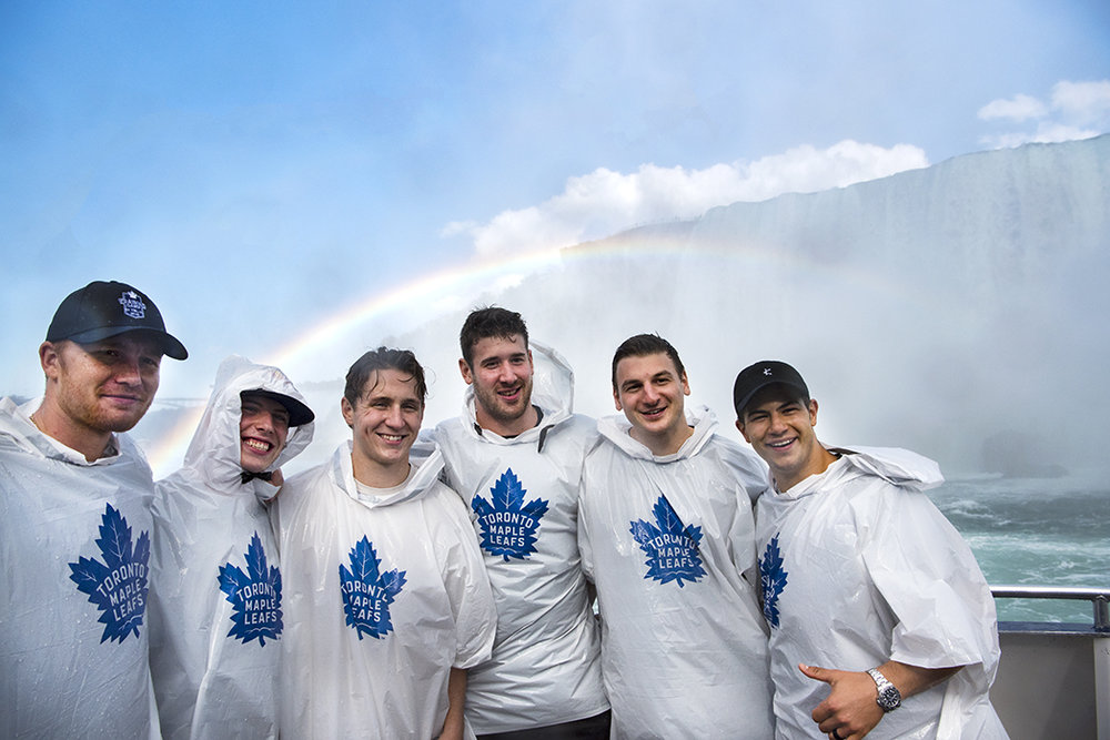 (L-R) Frederik Andersen, Mitch Marner, Travis Dermott, Frederik Gauthier, Zach Hyman and Connor Carrick of the Toronto Maple Leafs pose for a photo aboard the Hornblower during a journey to the Niagara Falls.
