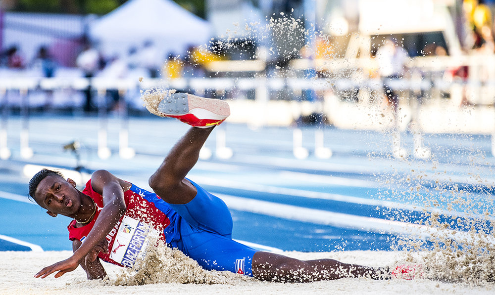 Jordan Diaz of Cuba competes in the Mens Triple Jump event at the NACAC Championships in Toronto.