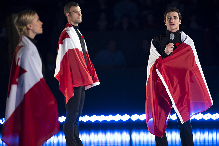 """Canadian figure skater, Scott Moir, speaks to the audience gathered in St. Catharines, ON, during the """"Thank You Canada Tour."""""""