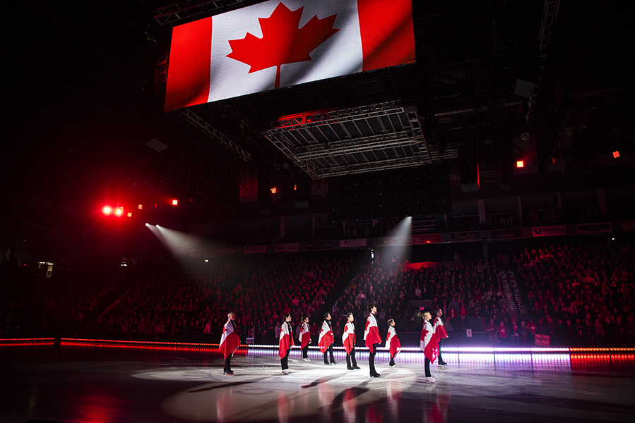 The Thank You Canada Tour began with figure skaters and fans alike singing O Canada.