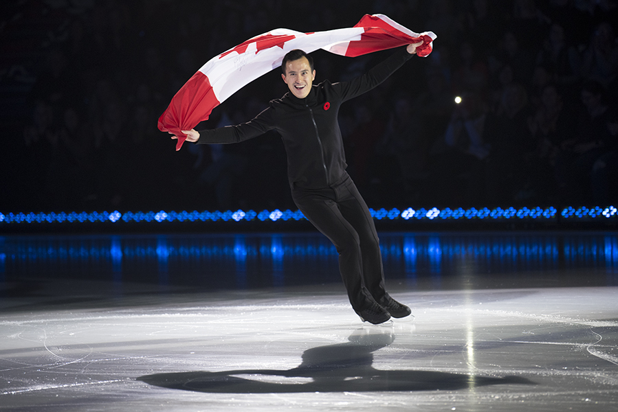 Patrick Chan was all smiles during skater introductions at the Meridian Centre.