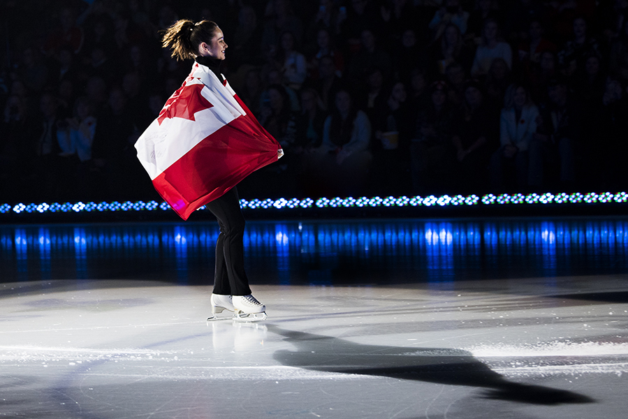 Kaetlyn Osmond skates out during skater introductions at the Meridian Centre.