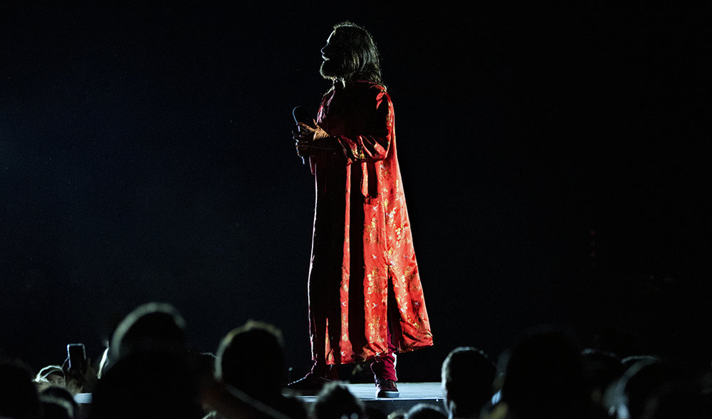 Oscar-winner and Thirty Seconds to Mars frontman, Jared Leto, is seen in silhouette during the band's June 6 performance in Toronto.