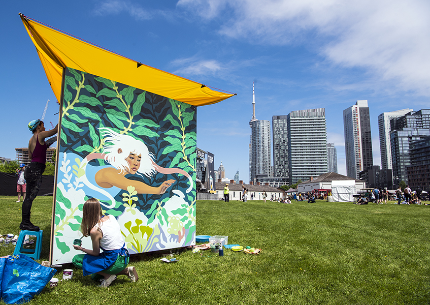 Tisha Myles and Sarah Cannon create new pieces during the opening day of Field Trip Music Festival in Toronto, ON, on June 2.