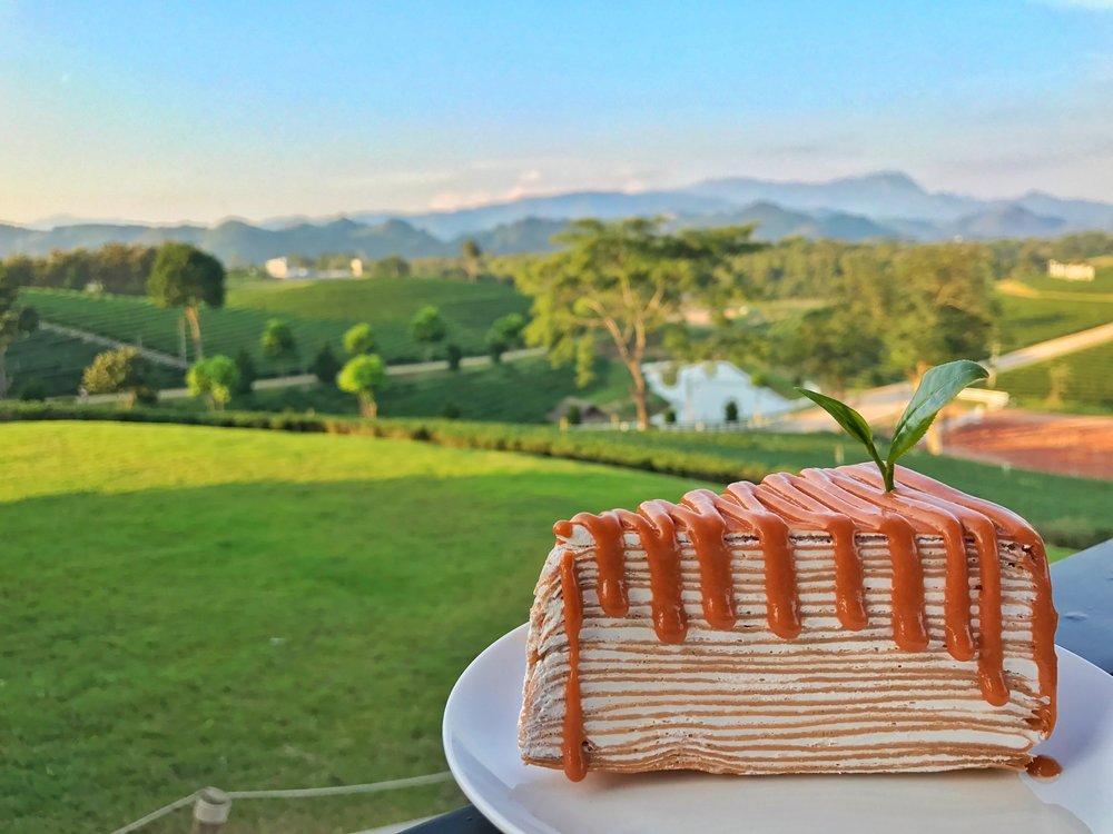 Choui Fong Tea Plantation Chiang Rai Thai tea crepe cake