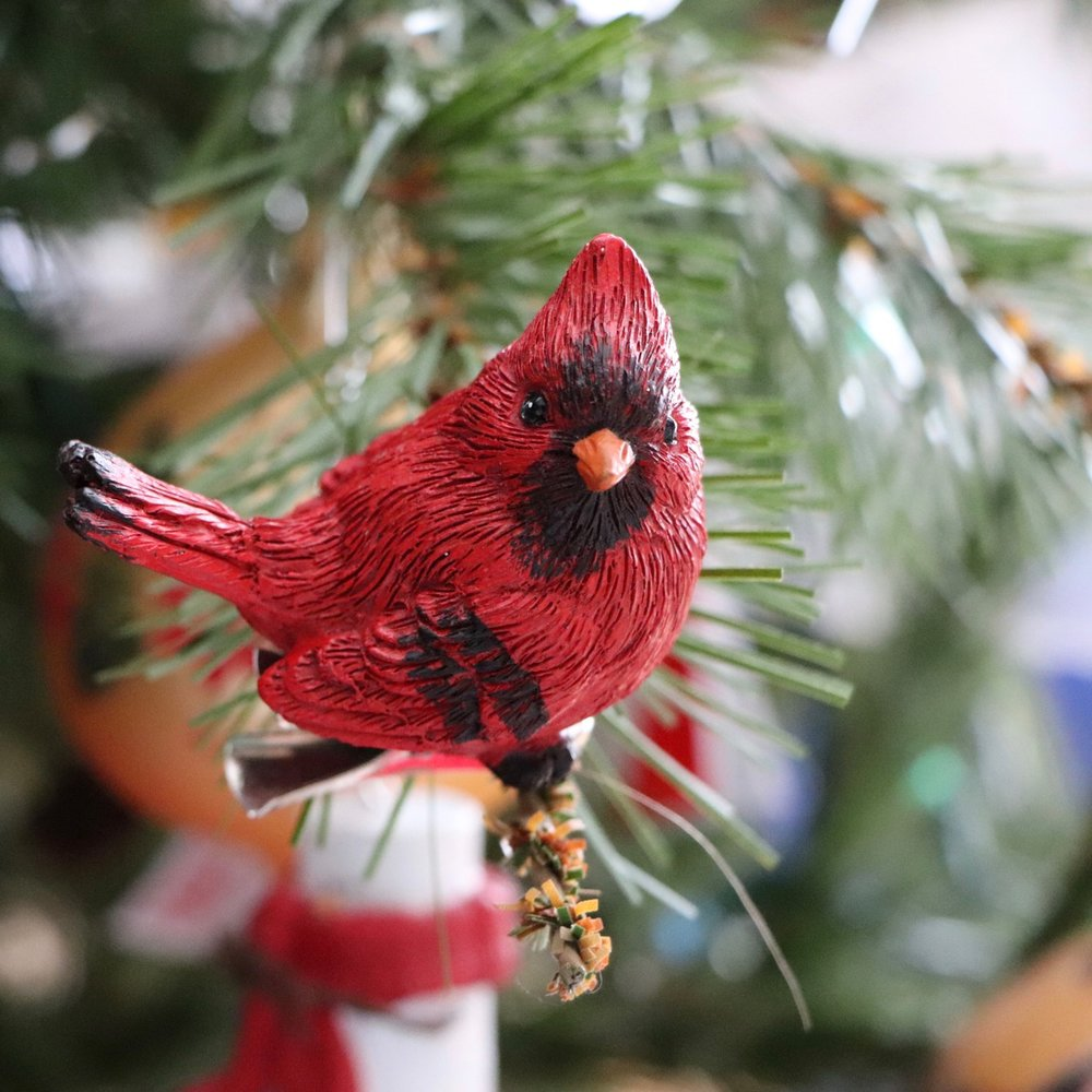 This little red cardinal ornament is a recent addition, I bought him from the Christmas Store in Banff in 2017!  Photo by: Lighter Side Interiors