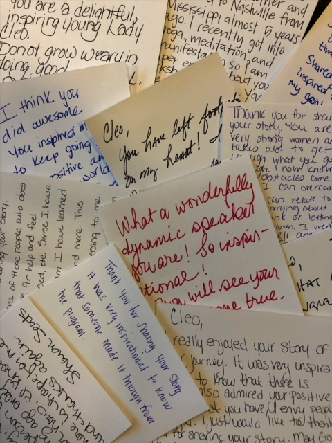 Amazing personal notes from Cleo's audience after speaking to members of The Mentoring Towards Independence Program with CCSI Christian Community Services Inc. in Nashville, TN on March 20, 2018!