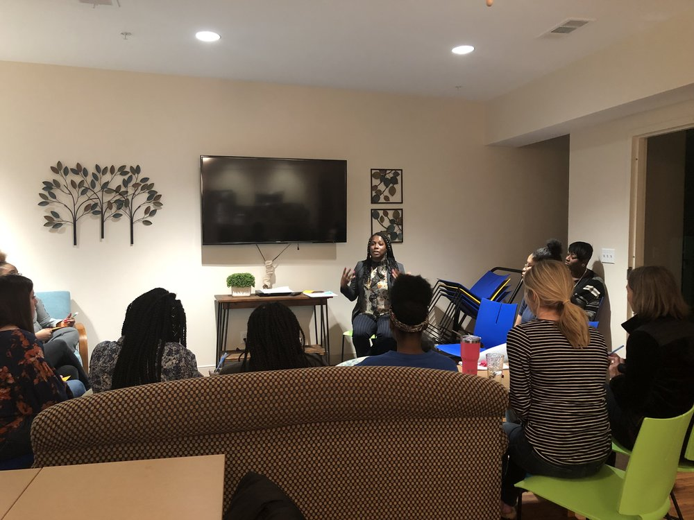 Date: Monday February 25, 2019    Organization:    Our Friends Place     Location: Dallas, TX    Cleo discussed Financial Planning with the resident's of    Pauline's Place    during their monthly skills night.