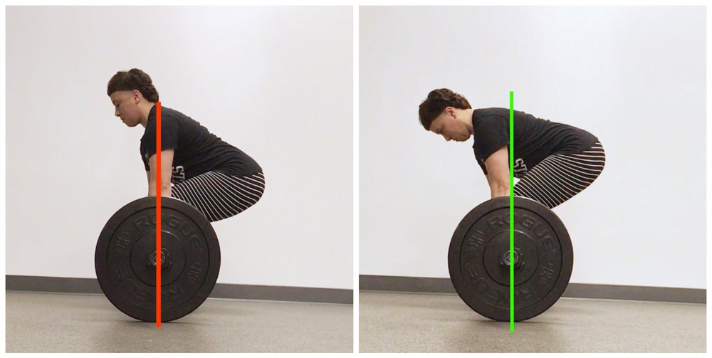 Left: Hips dropped too low, Right: Hips high, shoulders over the bar.