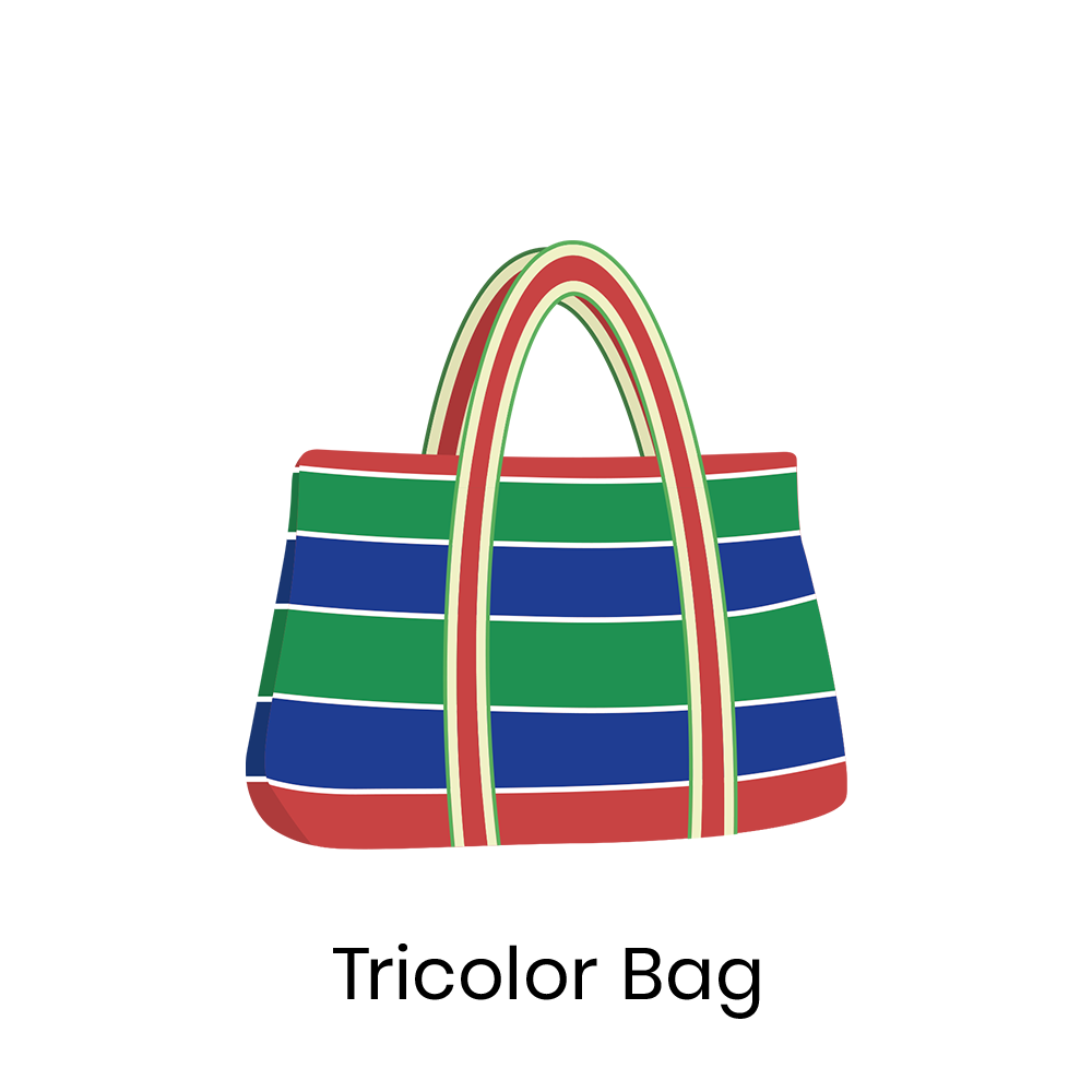 Tricolor bag  Tricolor bag is a vintage bag that, in old times, people in Taiwan used to shop groceries and to carry fruits. It is reusable and durable. And now, it is back in fashion.