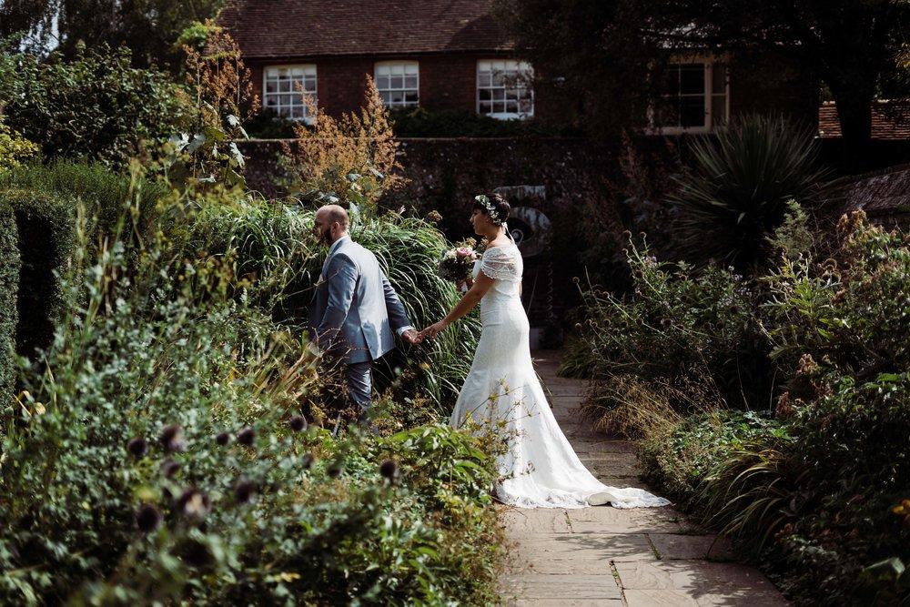 Lewes wedding walk in The Grange garden
