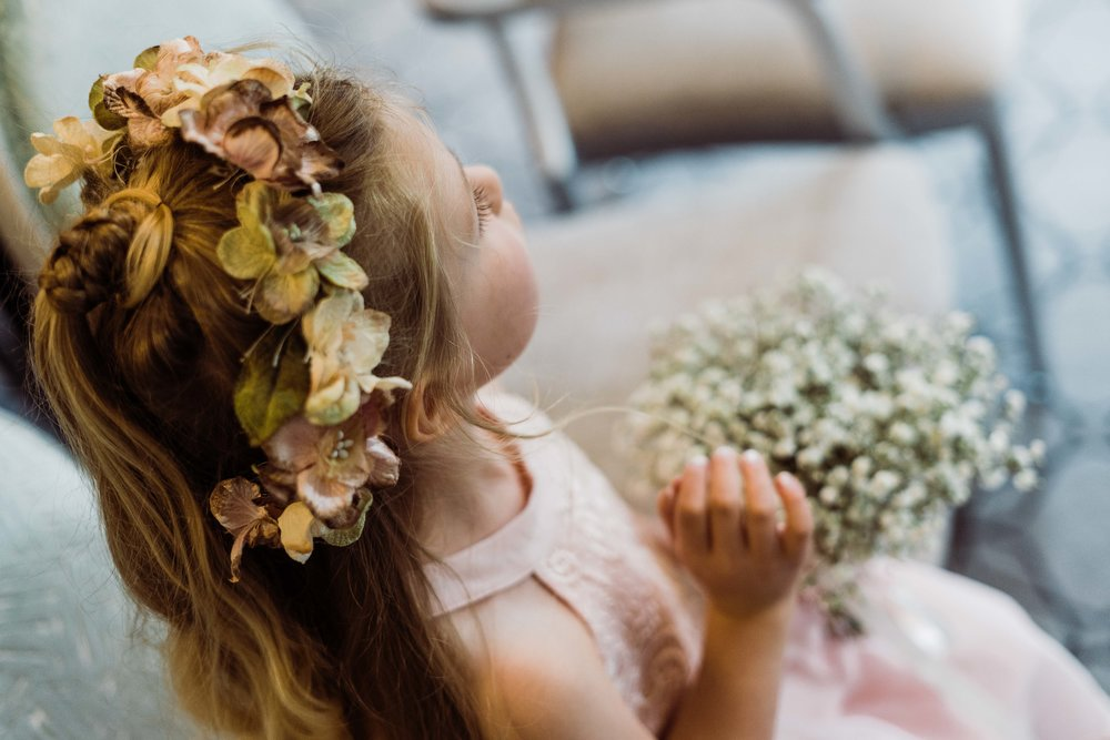 Flower girl with golden curls