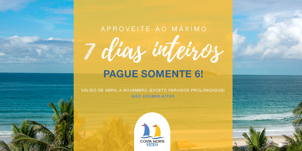 Week Promotion - Come and spend a full week at the Hotel Costa Norte, Praia dos Ingleses. Make the most of seven full days and pay only 6!MORE INFO  →