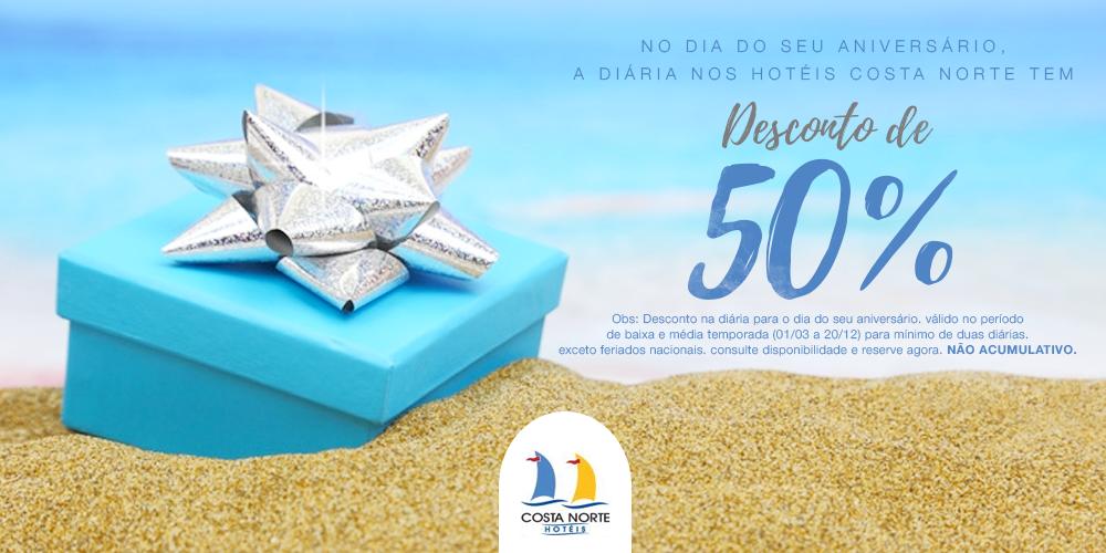Pacote de Aniversário - Seu dia é um dia muito especial! No dia do seu aniversário, a diária nos Hotéis Costa Norte, em Florianópolis, tem desconto de 50%.VER MAIS →