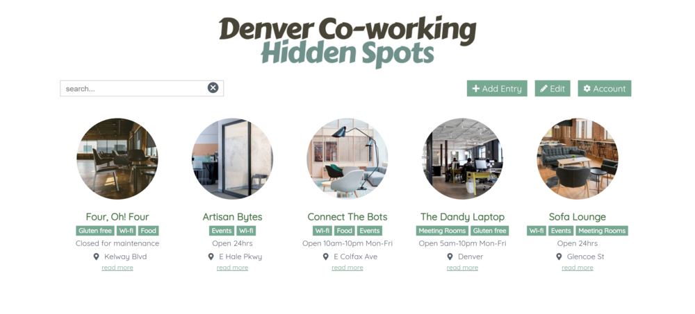 Denver Coworking - Crowdsource knowledge from your community and get them to add their favourite spots.