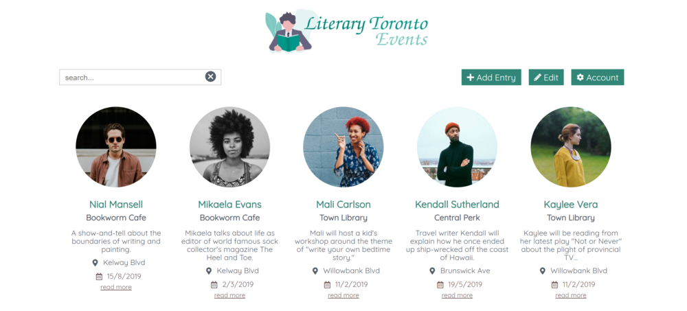 Literary Toronto - Holding a festival with workshops run by different people? Save your time and let them add their own events.